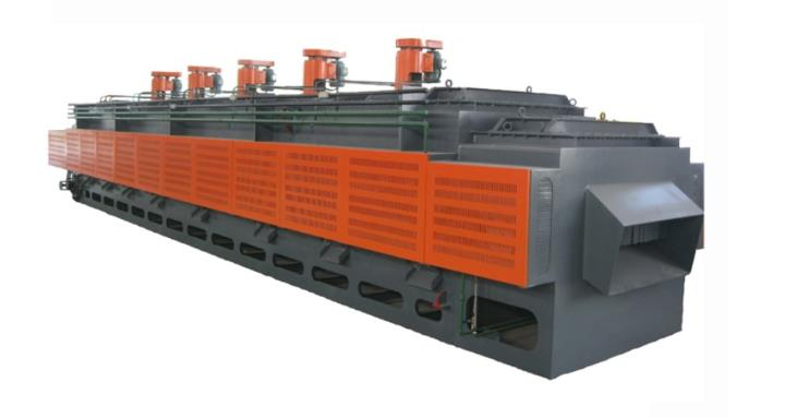 Continuous hot air mesh belt tempering furnace
