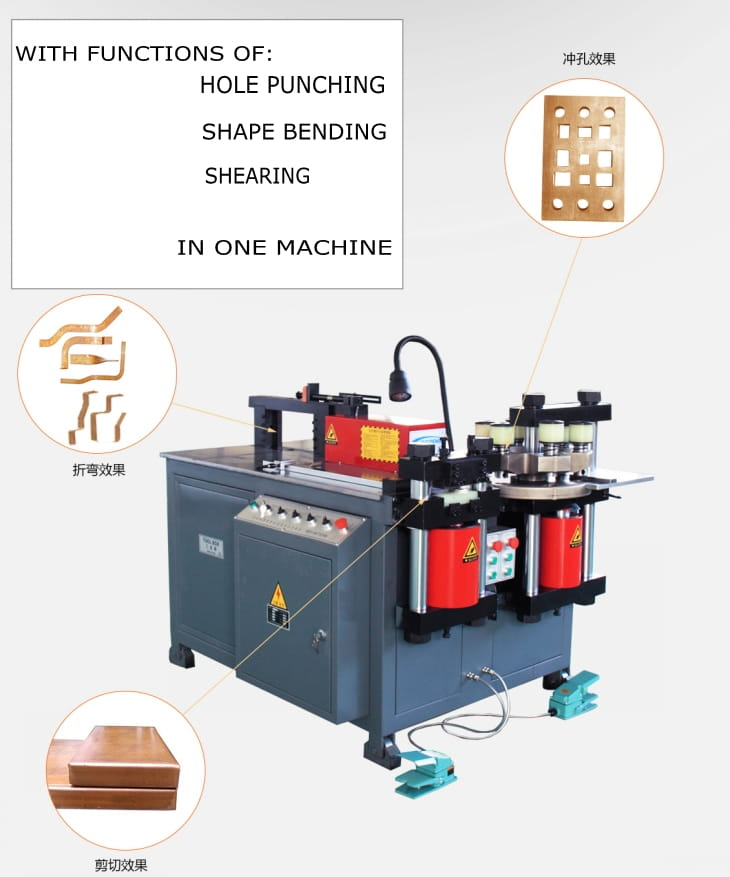 Three station multi functions bus bar making machine Structure and Components